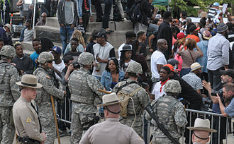 2015 Baltimore protests - Protesters gathered in front of Baltimore City Hall on April 30