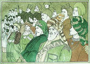 Coronation of King Edward VII and Queen Alexandra - An impression by Edith Harwood (1866-1926) of the colonial princes at Edward's coronation, from The Masque of the Edwards of England published in 1902.