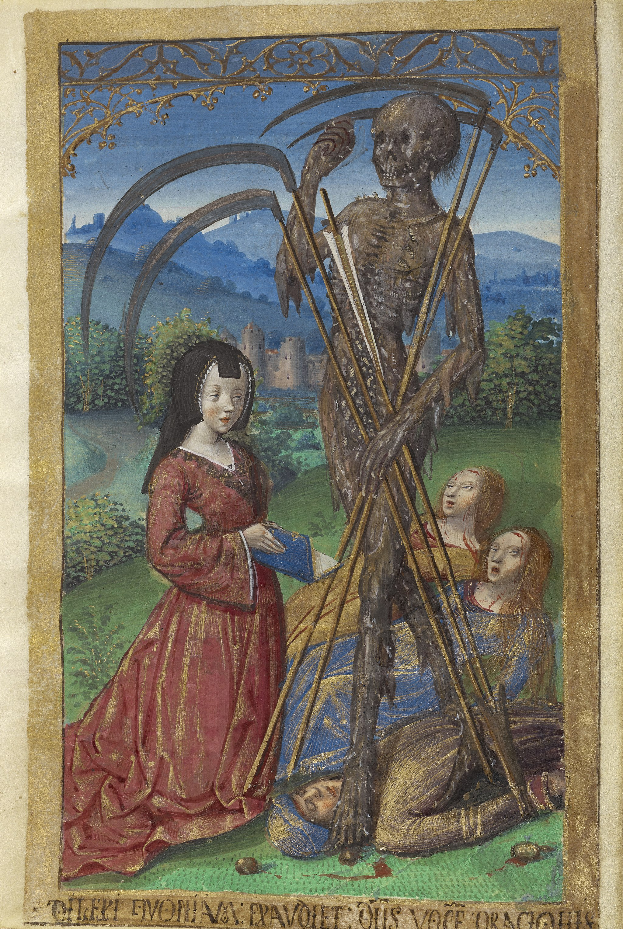 Master of the Chronique scandaleuse, Denise Poncher before a Vision of Death, about 1500. J. Paul Getty Museum