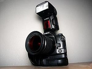 Minolta A-mount system - Dynax 7 w/ 28-100 mm lens, VC-7 vertical grip and 5600HS flash