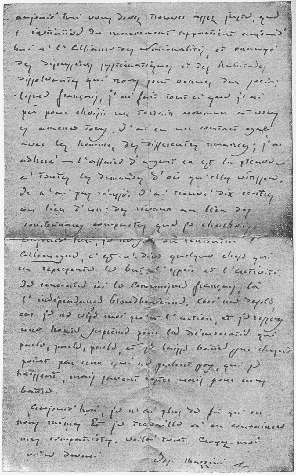 Mazzini Letter to Schurz