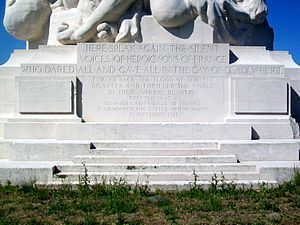 Meaux - The inscription in the slab, at the pedestal of the monument, in the rear side. The front side inscription is in French