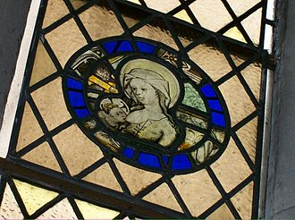 Newcastle Cathedral - Medieval Madonna and Child roundel in St Margaret's Chapel