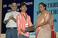 Meira Kumar distributing the Scholarships to meritorious SCST students of State Education BoardCouncil Examinations under Dr. Ambedkar National Merit Scholarship Scheme, in New Delhi on May 26, 2008 (1).jpg