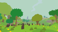 Pixelated trees grow across green hills, with gravestones in the foreground. A dark tower is visible in the distance.