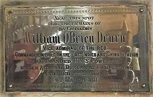 William O'Bryen Drury - Memorial of William O'Bryen Drury, St. Mary's Church, Madras