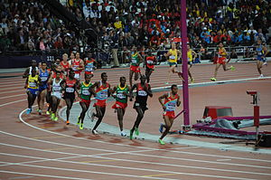 Long-distance running - Runners turning the bend in the men's 10,000 metres final at the 2012 Summer Olympics.