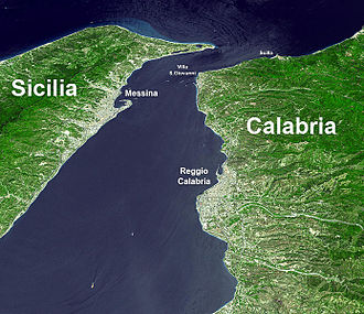 Strait of Messina - Satellite photo of the Strait of Messina with names. NASA image.