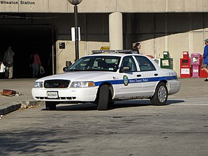 Metro Transit Police Department - A Ford Crown Victoria Police Interceptor of the MTPD at the Wheaton station in October 2009.