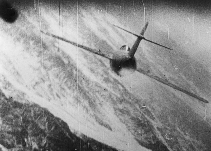 File:MiG-15 being hit over Korea c1953.jpg
