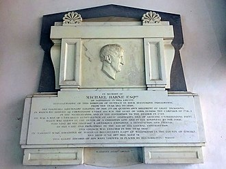 Michael Barne (politician) - Michael Barne memorial in St James's Church, Dunwich