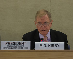 Michael Kirby (judge) - The commission of inquiry presided over by Kirby recommended that North Korean leadership be prosecuted for human rights violations.