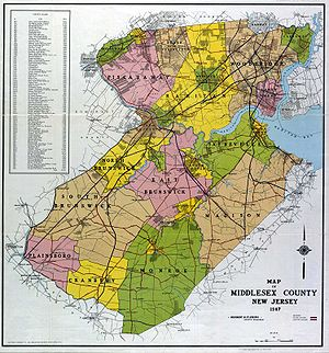 Middlesex County, New Jersey - 1947 road map