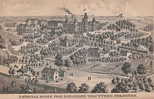 National Home for Disabled Volunteer Soldiers - An illustration of the Milwaukee location of the National Home for Disabled Volunteer Soldiers, from the 1885 edition of the Wisconsin Blue Book.