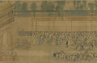 Candidates who had taken the civil service examinations would crowd around the wall where the results were posted; detail from a handscroll in ink and color on silk, by Qiu Ying (1494-1552). Ming-Beamtenprufungen1.jpg