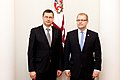 Ministru prezidents Valdis Dombrovskis tiekas ar Igaunijas ārlietu ministru Urmasu Paetu (6886277031).jpg