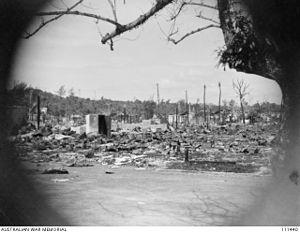 Miri Town, Allied Bombardment (AWM 111440)
