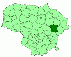 Location of Molėtai district municipality within Lithuania