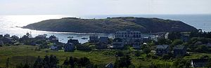 Monhegan, Maine - The village of Monhegan on Monhegan Island, with Manana Island in the background