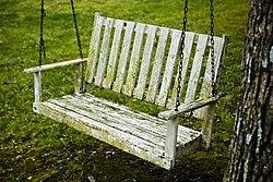 A mossy garden swing