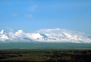 Wrangell Mountains - Mount Wrangell as seen from the southwest in 1987