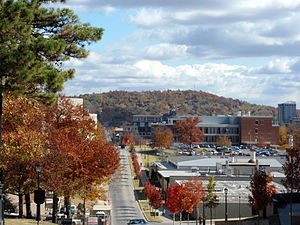 Fayetteville, Arkansas - Mount Sequoyah rises above Fayetteville on the city's eastern side