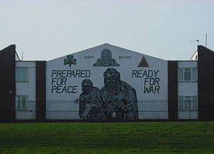 Shore Road, Belfast - UVF mural on Mount Vernon estate, visible from the Shore Road