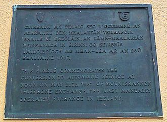 Mountshannon - A plaque commemorating the conversion of the telephone exchange to automatic service. (Click image to read).
