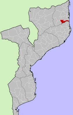Localização do distro em Moçambique