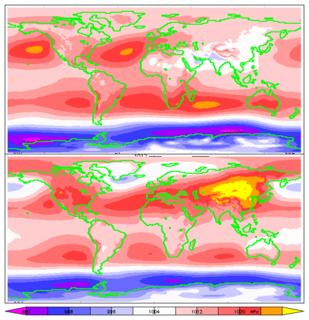15-year average mean sea-level pressure for June, July, and August (top) and December, January, and February (bottom). ERA-15 re-analysis. Mslp-jja-djf.png