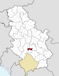 Location of the municipality of Aleksandrovac within Serbia