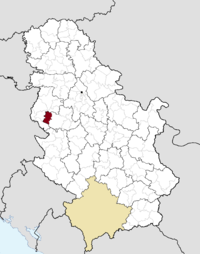 Location of the municipality of Osečina within Serbia