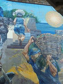 La vita quotidiana di agricoltori all'opera su una terrazza delle Cinque Terre (particolare di un murale a Riomaggiore)