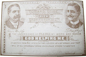 Elwood Haynes - Haynes' Francis Murphy Temperance pledge card