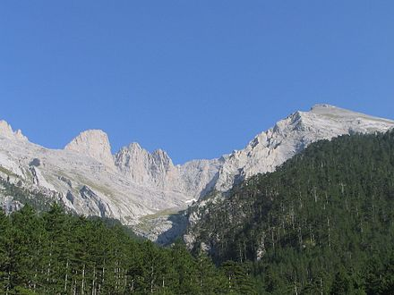 Mount Olympus, home of the Twelve Olympians Mytikas.jpg