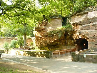 Nuremberg Zoo - The entrance of the big cat house, which is a tunnel through a sand stone rock leading into the house, which is situated behind it