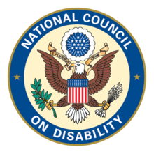 Seal of the National Council on Disability featuring a circle with blue ring and white letters spelling National Council on Disability. In the center is a light cream background and American eagle crest.