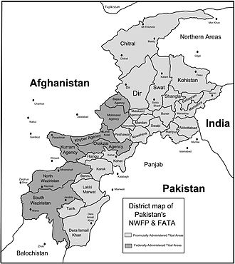 War in North-West Pakistan - Air Intelligence map: Map showing the air domain of the districts of the Tribal areas (FATA) and the Khyber-Pakhtunkhwa province of Pakistan.