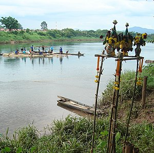 Ban Khung Taphao - Kungthapao villagers performs a ceremony to worship about a stream Thailand.