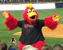 "A person wearing a red anthropomorphized rooster costume dressed in a black baseball jersey with ""Music City"" written across the chest in red letters dances on a baseball dugout"
