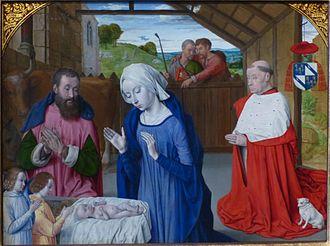 Jean Hey - Nativity with donor portrait of Cardinal Rolin