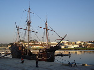 Vila do Conde - A carrack in the harbour of Vila do Conde: many mariners from the village were involved in the epic voyages during the Age of Discovery