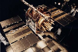 GPS satellite blocks - A Navstar GPS satellite undergoing pre-launch testing.