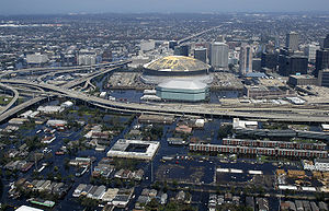 Weather - New Orleans, Louisiana, after being struck by Hurricane Katrina. Katrina was a Category 3 hurricane when it struck although it had been a category 5 hurricane in the Gulf of Mexico.
