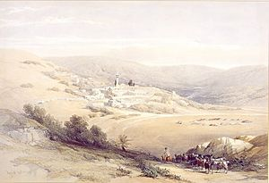 Aqil Agha - Drawing of Nazareth, 1842. Aqil was honored by various European governments for protecting the Christians of Nazareth from the 1860 massacres