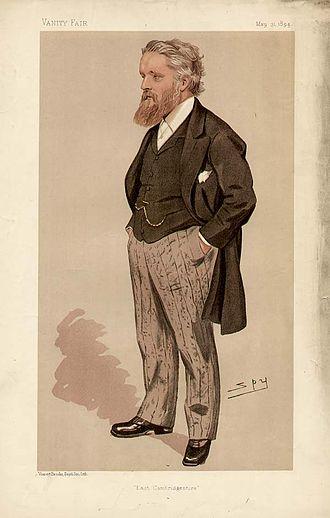 """George Newnes - Caricature of George Newnes by Leslie Ward (""""Spy"""") in Vanity Fair magazine, 1894"""