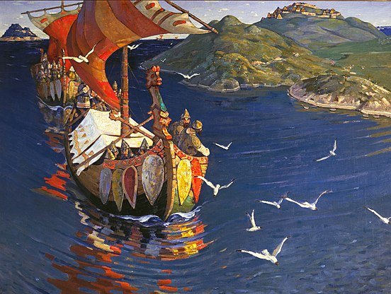 Guests from Overseas by Nicholas Roerich, depicting a Viking raid. Nicholas Roerich, Guests from Overseas.jpg