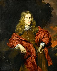 Portrait of a Gentleman in a Brown Tunic with a Red Cloak in a Wooded Landscape
