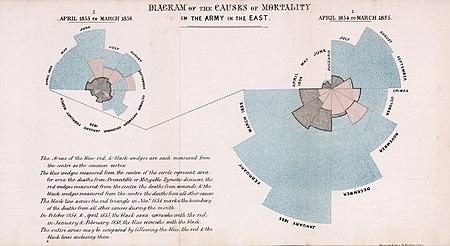 ナイチンゲールが考案した「鶏のとさか」と呼ばれる円グラフ。クリミア戦争での負傷兵たちの死亡原因を、予防可能な疾病、負傷、その他に分けて視覚化している。Wikipediaより
