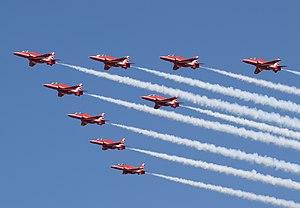 Neuf BAE Hawks of the UK Flèches rouges au RIAT 2018, Angleterre.jpg